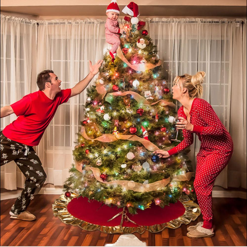 90cm Golden Side Christmas Tree Skirt Apron Xmas Ornament Party ...