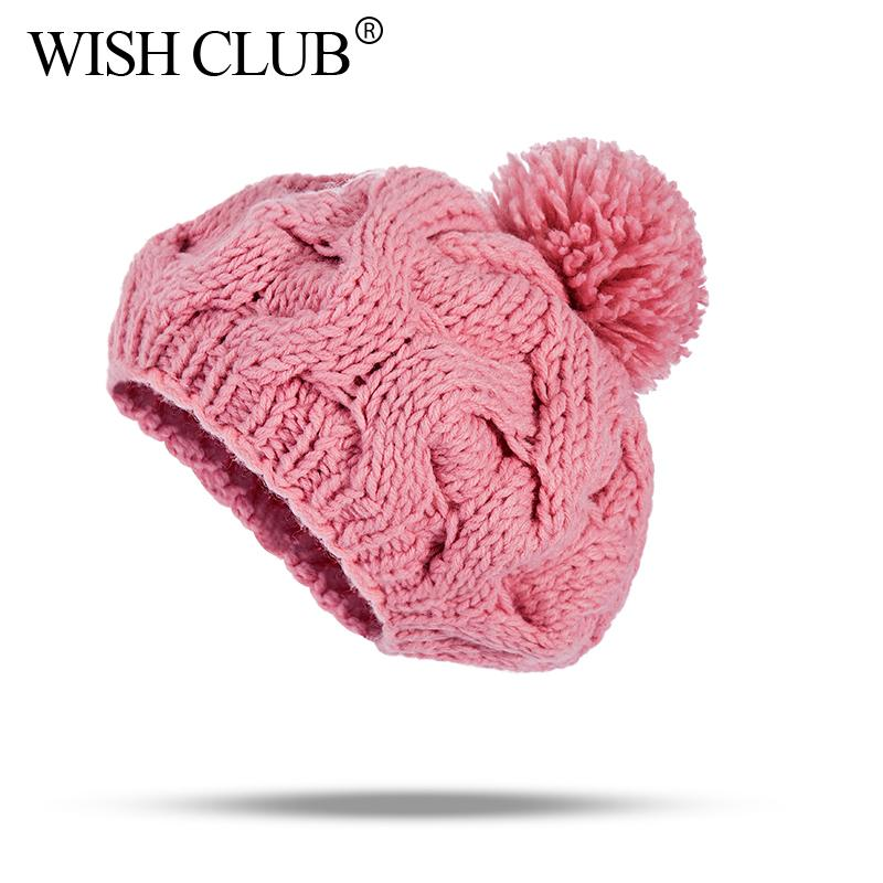 427830ac728 WISH CLUB Winter Women Hats Knitted Beanies Pom Pom Hat For Girl Women  Fashion Skullies Beanies Female Caps Lady Skullies Hats Stetson Hats Trilby  From ...