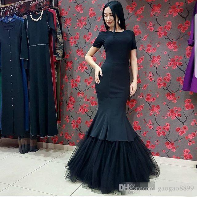 Elegant Modest Black Mermaid Evening Gowns Long Simple African formal Party Dresses prom wear trumpet Tulle Skirt Prom Gowns plus size