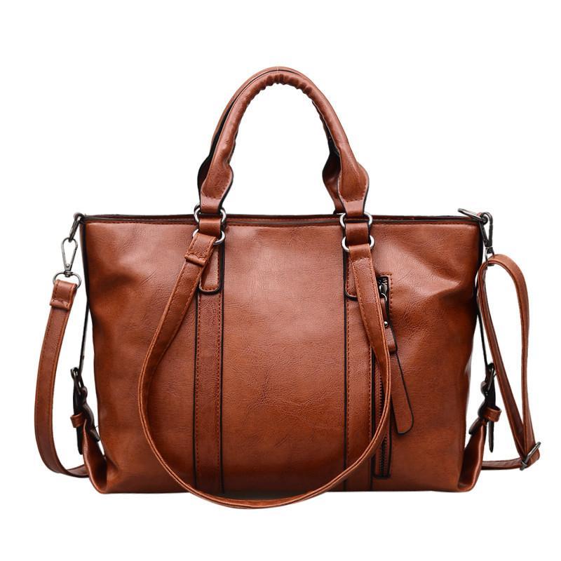 66617abf02 Oil Wax Female Totes Handbag PU Leather Big Vintage Women Shoulder Bag  Large Capacity Retro Top Handle Office Messenger Bags Sac Personalized Bags  Fashion ...