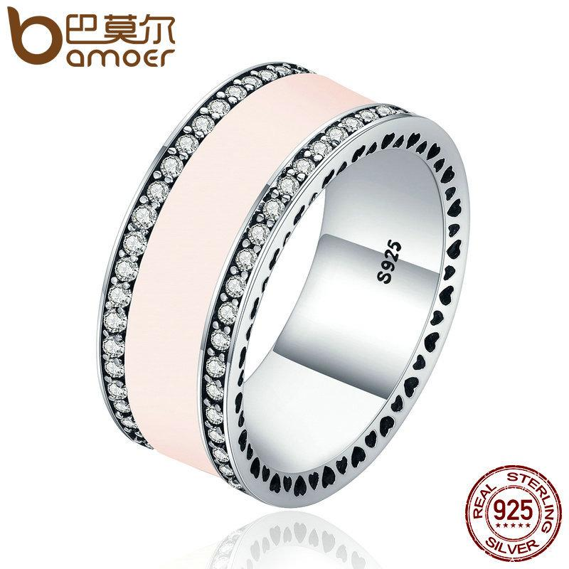 dc34dee50 2019 BAMOER Real 925 Sterling Silver Radiant Hearts & Light Pink Enamel  Clear CZ Wide Band Ring For Women Engagement Jewelry PA7624 S18101608 From  Datai, ...