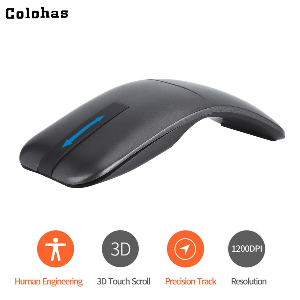 2 4G Wireless Mouse Touch 3D Scroll Wheel Portable Arc Mouse 1200DPI Mice  Twisted Switch for Lenovo Macbook HP