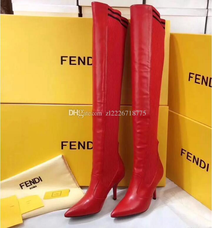 831edec08fd 2018 High Heeled Stiletto Red Leather Cuissard Boots Fashion Luxury  Designer Women Boots Black Leather Thigh High Boots Booties Shoes &Box