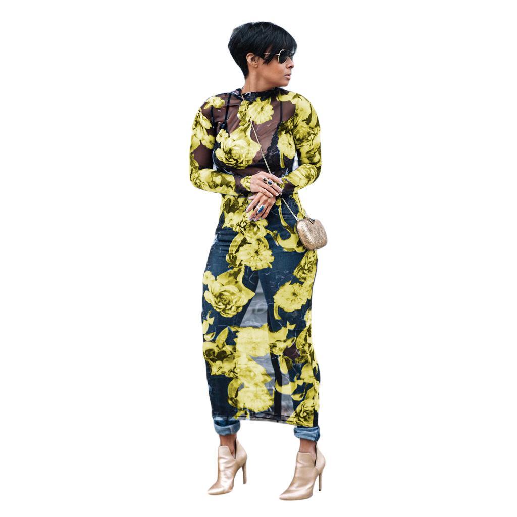 Summer Women Long Floral Dress Plus Size Long Sleeve See Through ...