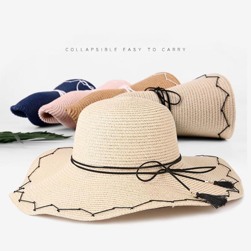 efd61536781 2019 2018 Leisure Beach Caps Summer Embroidery Cap Big Brim Ladies Summer  Straw Hat Youth Hats For Women Shade Sunhat From Hongmihoutao