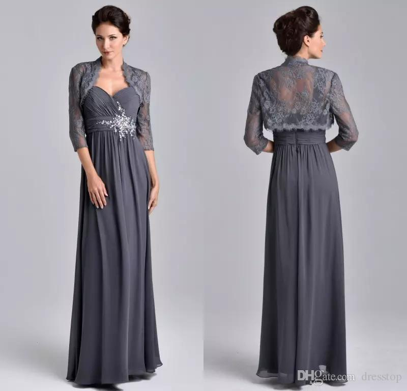 Dark Purple Sweetheart A-line Mother Of The Bride Dresses With Lace Jacket Evening Party Long Mother Dresses For Wedding 2019 Perfect In Workmanship Weddings & Events Wedding Party Dress