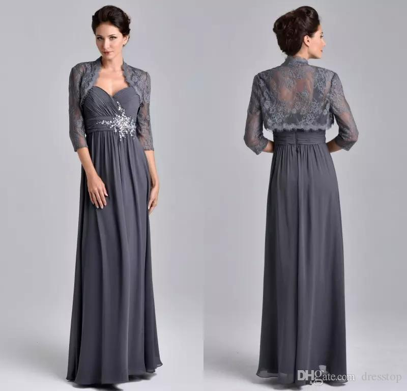 fa6d4ae214e 2018 Stunning Beaded Mother Of The Bride Dresses With Lace Jacket Sweetheart  Grey 3 4 Sleeve Evening Gowns Floor Length Wedding Guest Dress Mother Of  The ...