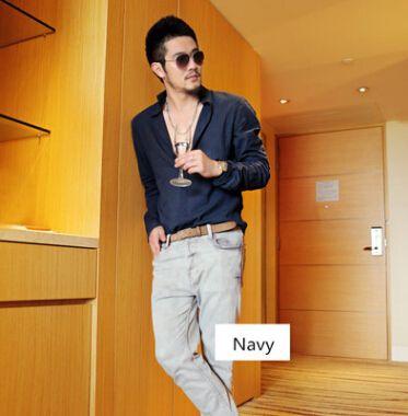 Men Casual Shirts Spring Summer Linen Cotton Blend Leisure Street Beach Shirt Long Sleeved Tops