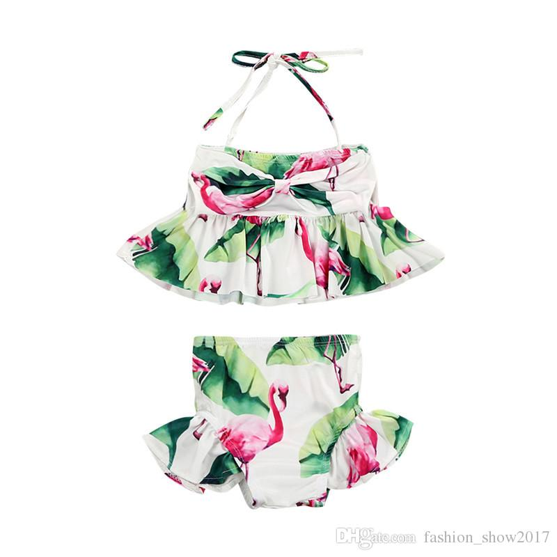 Brand New Newborn Toddler Infant Child Kid Baby Girl Flamingo Swimwear Swimsuit Bikini Set Bathing Suit Costume 1-6T