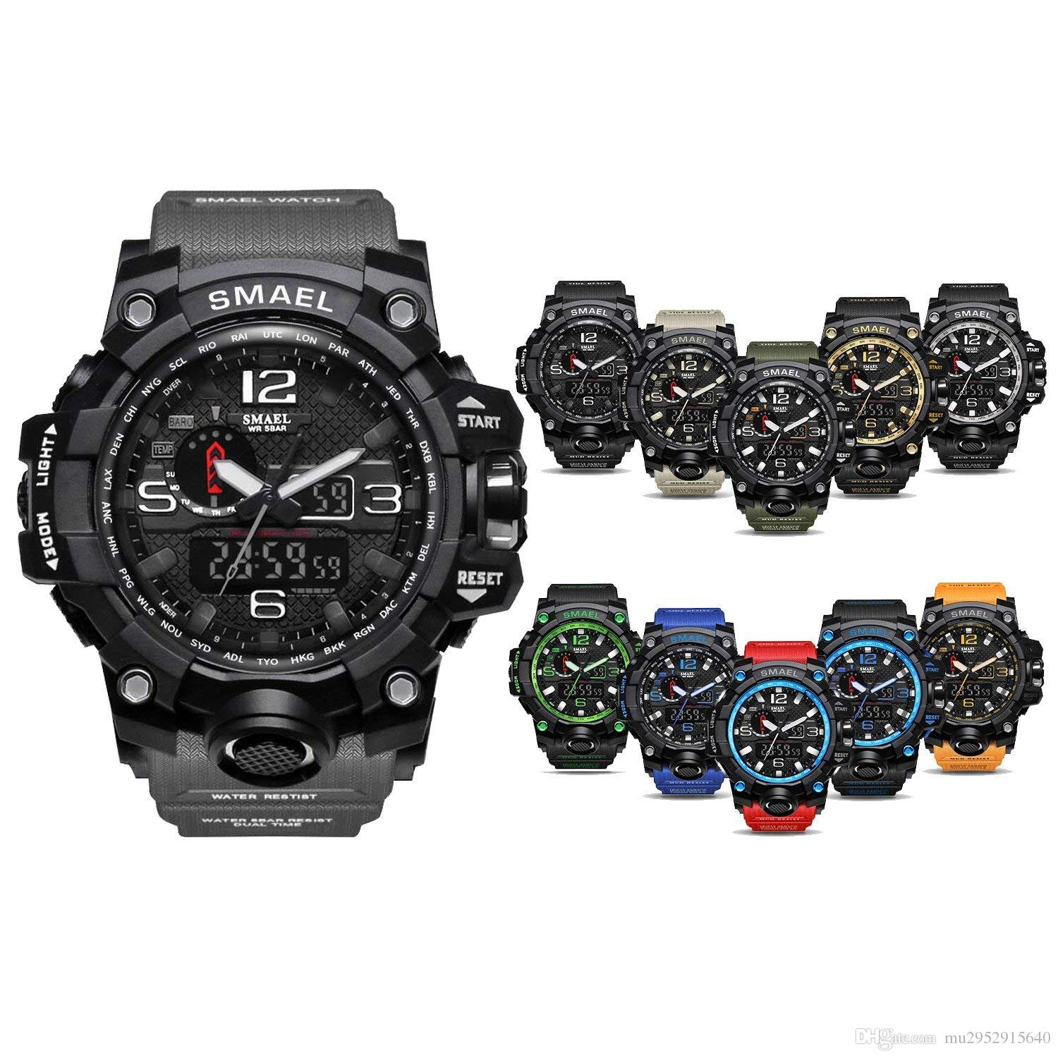 Free Shipping 50m Waterproof Mens Watch Mens Sports Watch Mens Military Watch Large Multifunction Electronic Watch Men's Watches