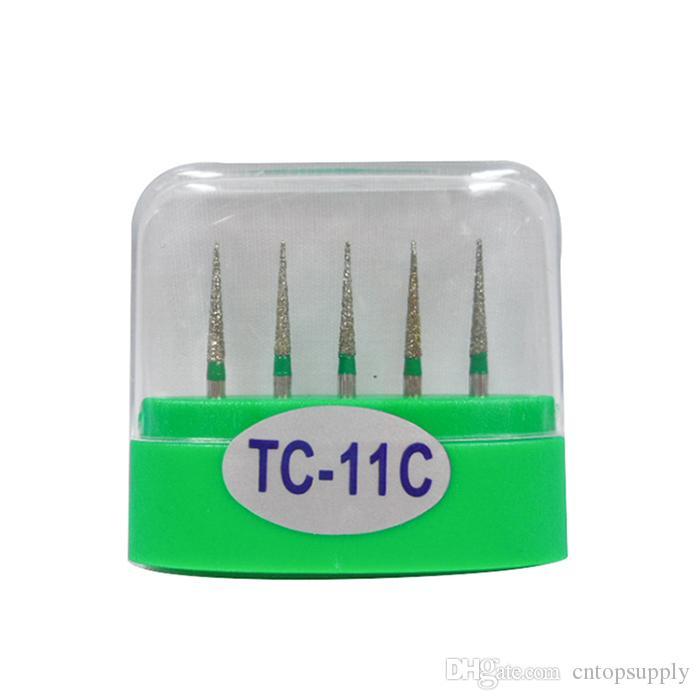 1 paquete 5 piezas TC-11C Dental Diamond Burs Medium FG 1.6M para pieza de mano de alta velocidad dental Muchos modelos disponibles