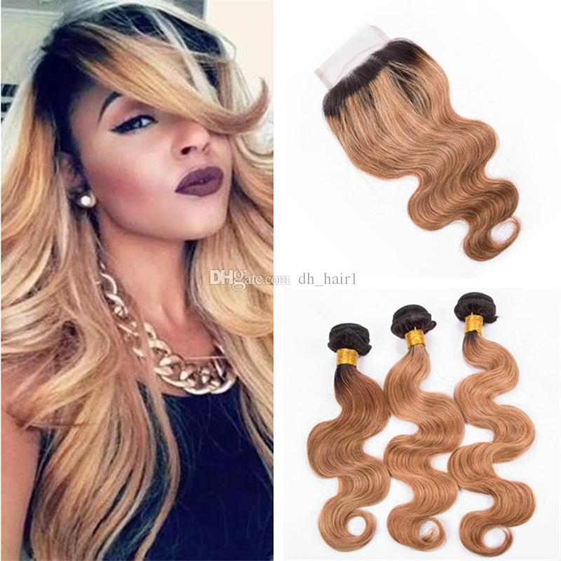 Ombre Brown Blonde Brazilian Hair Bundles with Lace Closure 2 Tone 1B 27 Honey Blonde Ombre Body Wave Human Hair and Closure