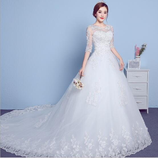 Wedding Dress Wholesale Sleeve Round Collar Trailing 2017 New Korean ...