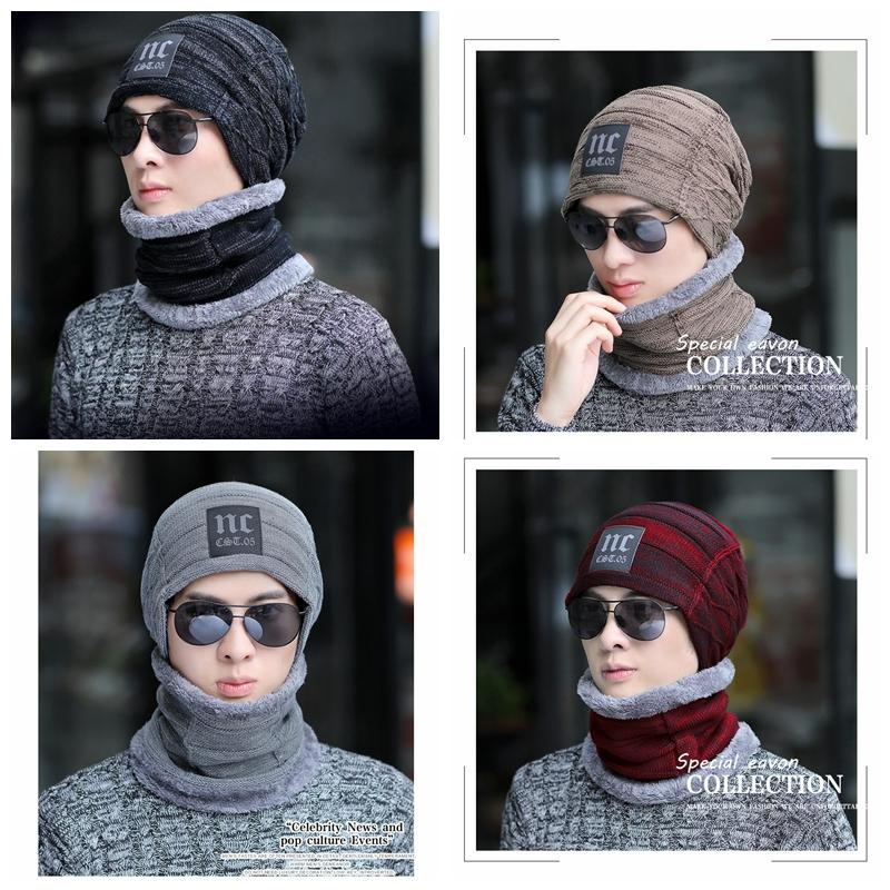 3dff21fa53625 Winter Warm Knitted Hat Beanie Hats Scarf Sets For Student Teenagers Men  Knitted Hat Cap MMA995 Sun Hat Hats For Men From Shuaijinjin china