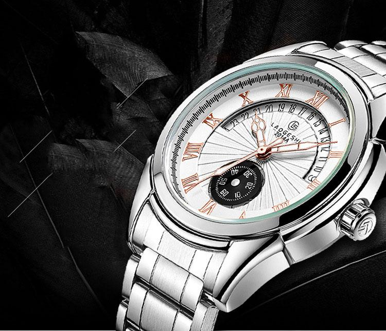 LAOGESHI wengle Nuovo calendario di moda di tendenza impermeabile acciaio striscia uomini secondo disco luminoso automatico orologi meccanici