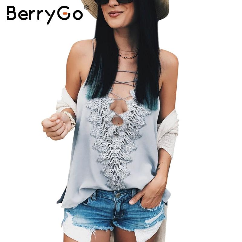 BerryGo Casual summer satin lace up cami women Reversible cami lace top  Sexy adjustable strap lining camisole tank top female 113102fbb