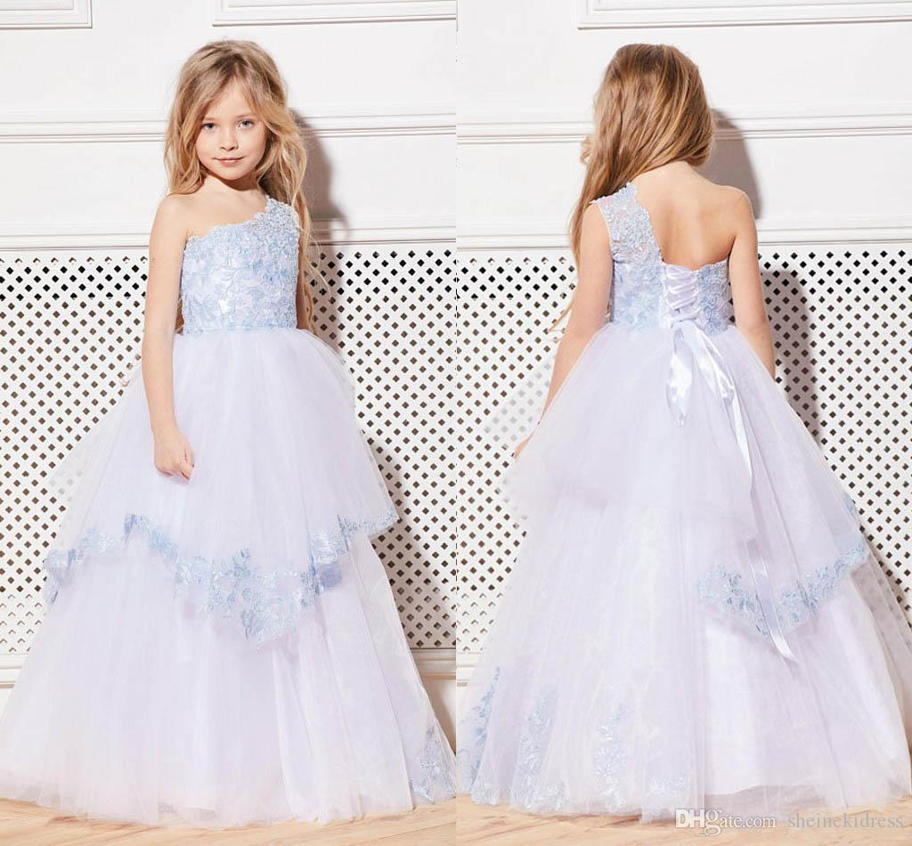 e3cc6ccfb88 2018 Baby Blue White One Shoulder Lace Appliques Flower Girls Dresses Tulle  Floor Length Lace Up Flower Girls Dresses For Weddings Ball Gown Lime Green  ...