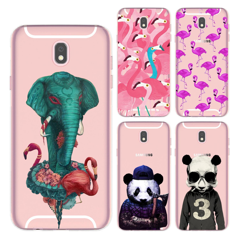 For Samsung Galaxy J7 2017 J730 Case Cover 5 5 Soft TPU Silicone Painted Cute Color Flamingo Elephant Panda Flower Phone Shell Cute Colorful Dense Flamingo