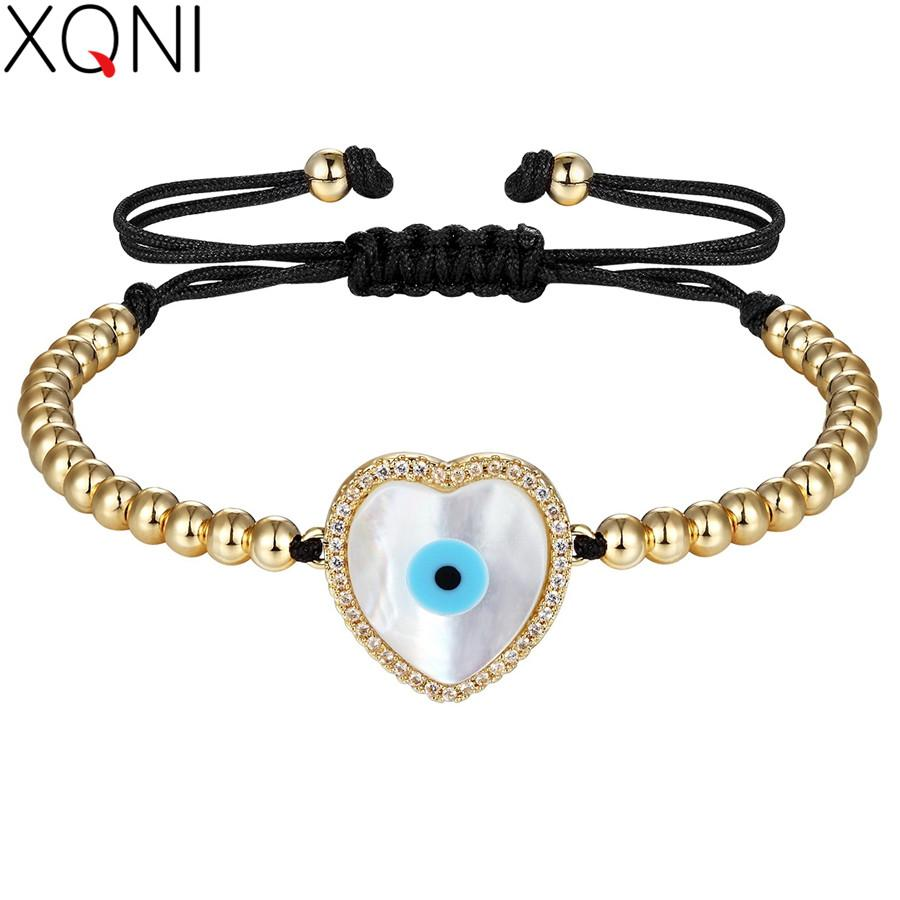 XQNI Natural Shell & Cubic Zircon Evil Eyes Design Heart Pattern Adjustable Charm Bracelet For Women Strand Bead Weaved Jewelry