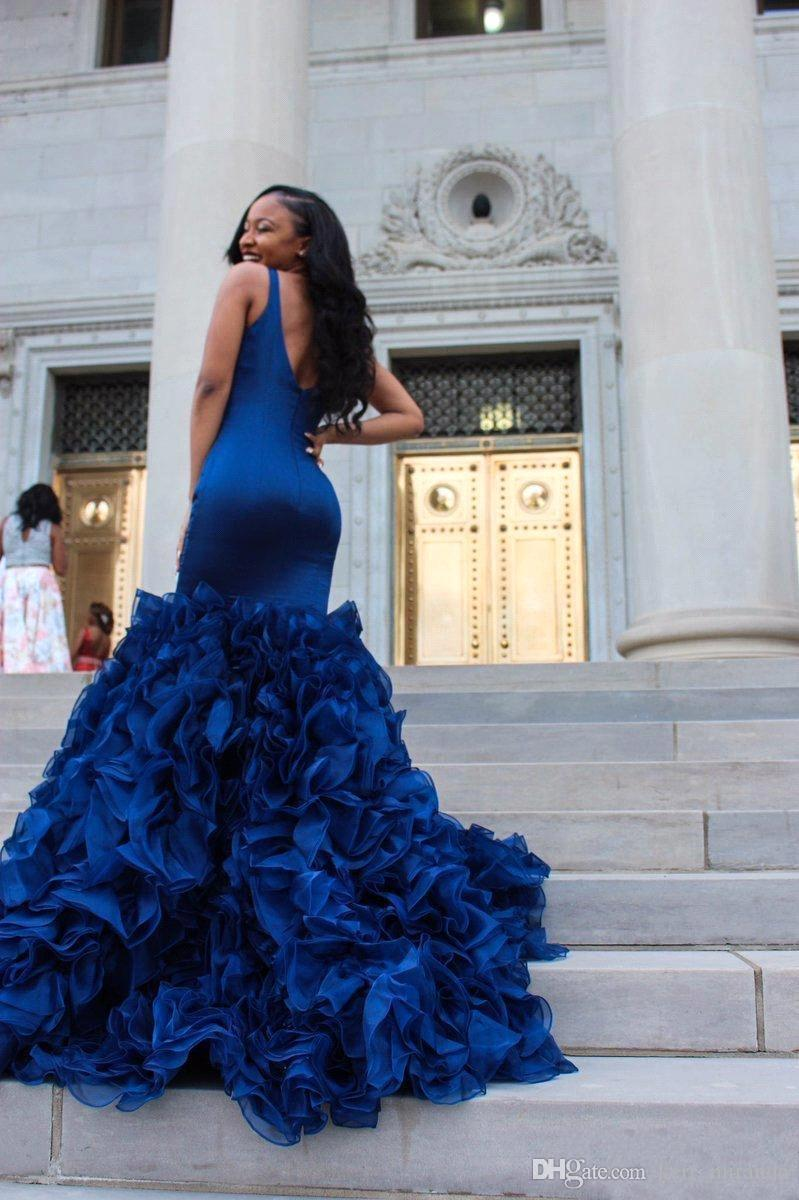 6be50ece564f African Black Girl Royal Blue Mermaid Prom Dresses Sexy Deep V Neck  Sleeveless Ruffles Organza Skirt Formal Party Prom Dresses Evening Wear On  Sale Prom ...