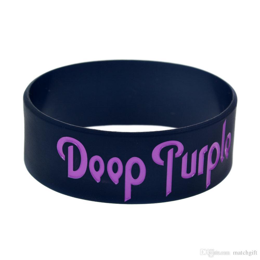 50 Adet / grup Doop Mor Ağır Metal Müzik Band Silikon Bileklik 1 Inç Geniş Bilezik Mürekkep Dolu Logo