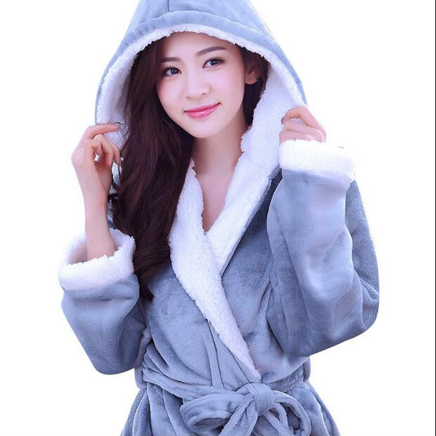 5ecef33fa3 2019 Autumn Winter Fleece Soft Bathrobe With Hood Ladies Robes Nightgown  Home Clothes Warm Bath Robe Dressing Gowns For Women Men From Honey111