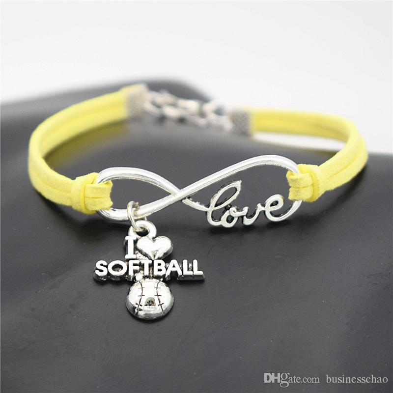 AFSHOR Punk Sport Argento Antico I Love Softball Ciondolo Charm Bracciali in pelle donna Uomo Softball Team regalo Infinity Love Jewelry