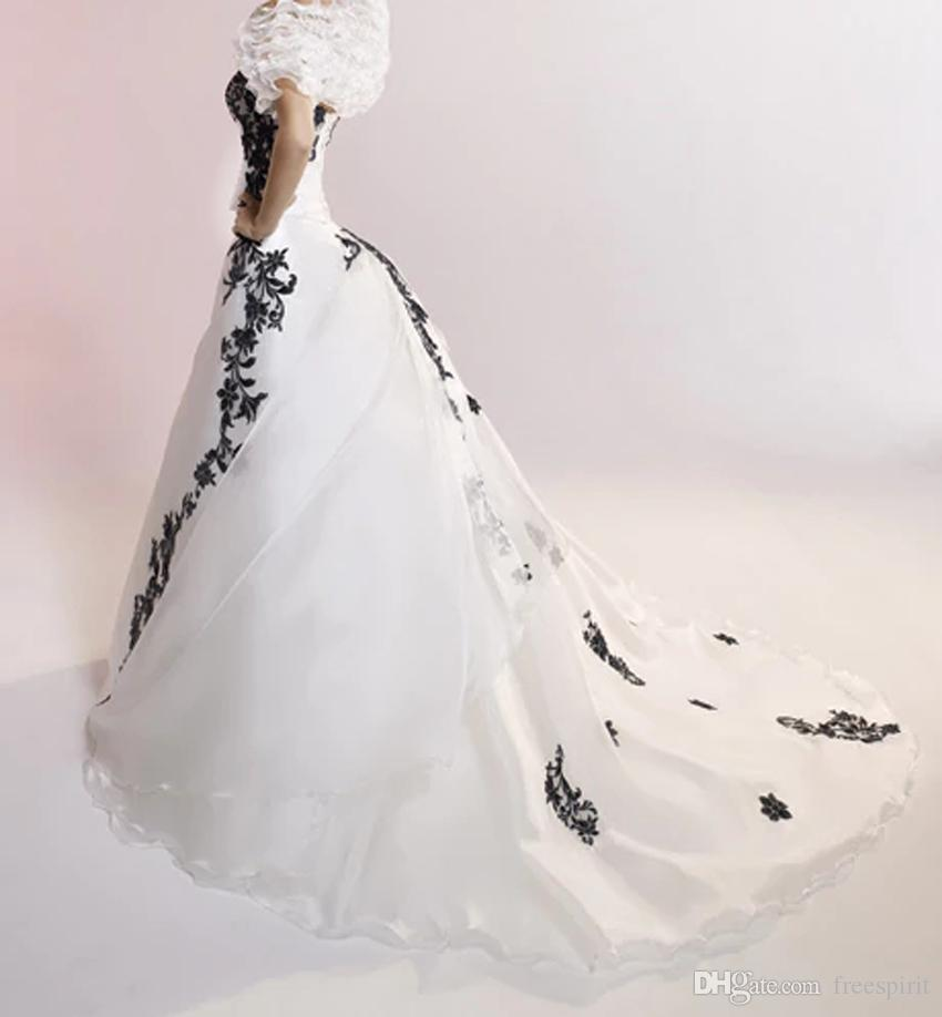 Black and White Wedding Gown with Lace Strapless Lace up Back Organza Simple Bride Dress Vintage Style Custom Made
