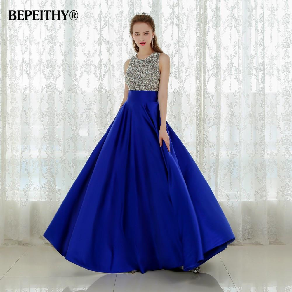 2019 Vestido Longo Royal Blue Long Evening Dress 2016 Crystal Top Vintage Prom  Dresses Robe De Soiree Fast Shipping With Pocket C18111601 From Lizhang03 1a94f86af146