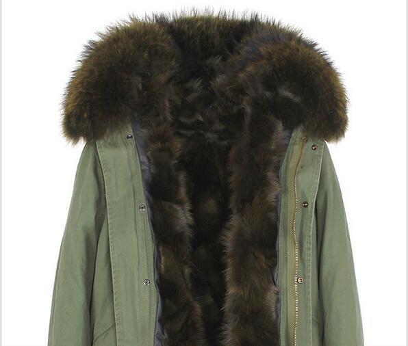 fashion ladies coats Jazzevar brand white fur trim white fox fur liner khaki mini parkas snow jackets with raccoon fur trim hoody