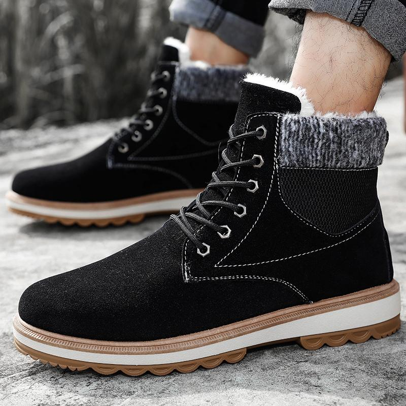 8b49afb74b6 Hemmyi Mens Winter Boots Round Toe Snow Ankle Boots Casual Keep Warm Black  Shoes for Men Rubber Sole Male Work Shoes