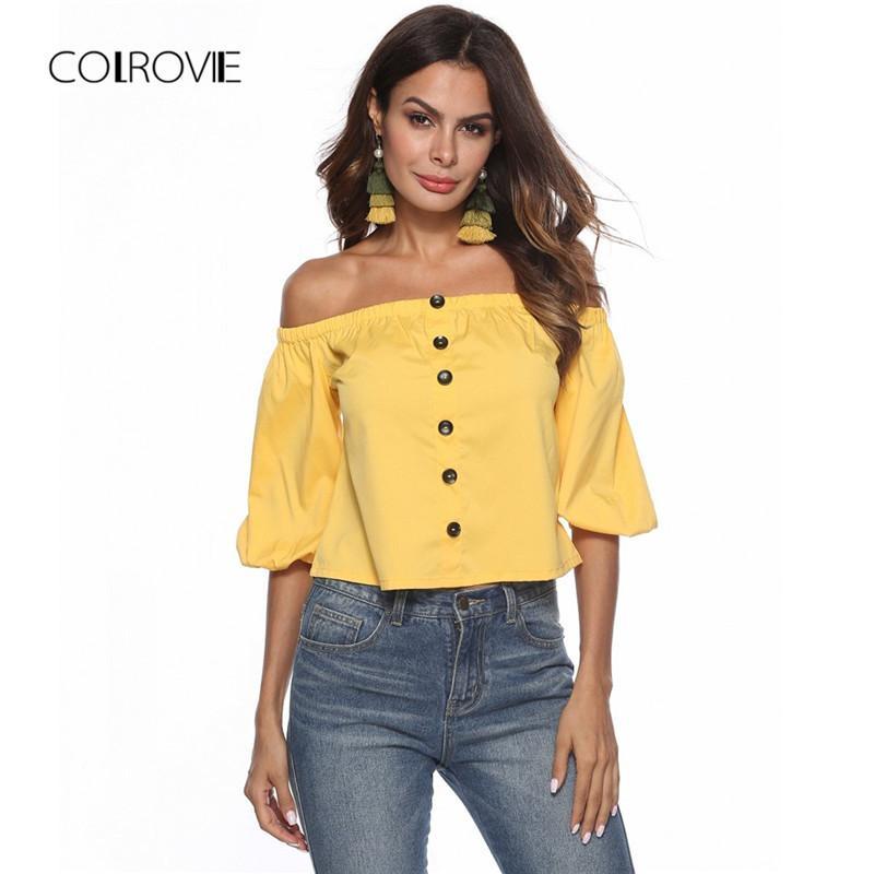 09e314d7e2 Compre COLROVIE Camisa De Blusa Amarilla Sin Cordones Amarilla Con Hombros  Descubiertos 2018 Nueva Blusa De Obispo Sexy De Primavera Y Blusas Sexy A  $42.18 ...