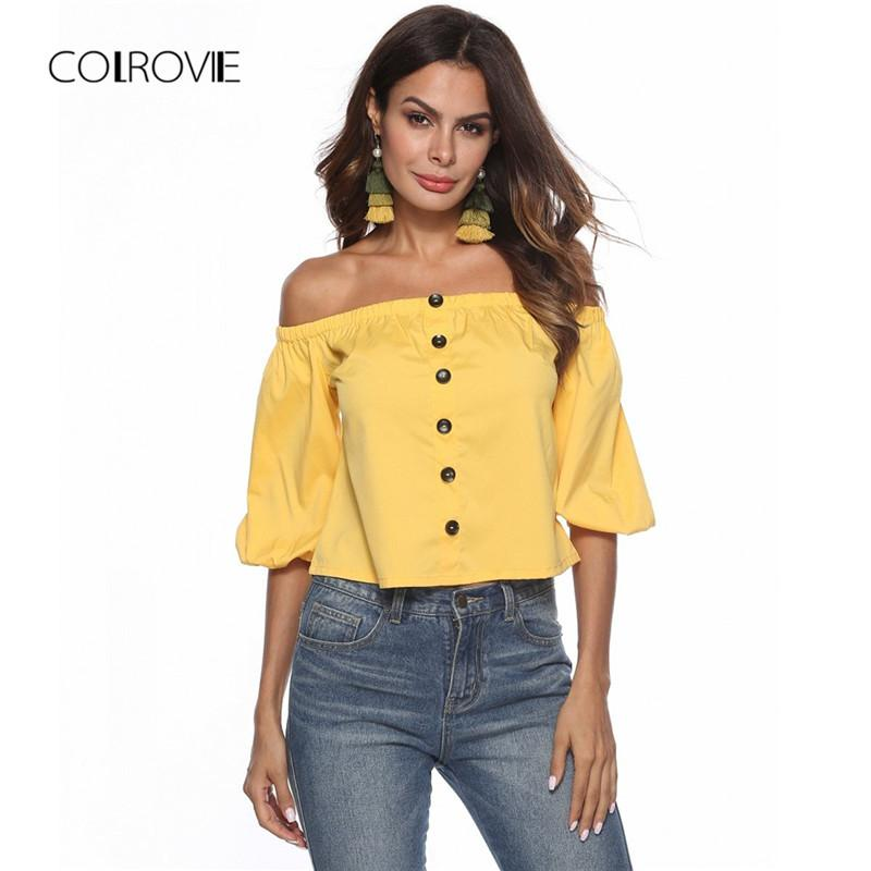 6d3a1cbb7c3 2019 COLROVIE Yellow Off The Shoulder Single Breasted Button Casual Blouse  Shirt 2018 New Autumn Bishop Sleeve Sexy Blouse And Tops From Longan08, ...