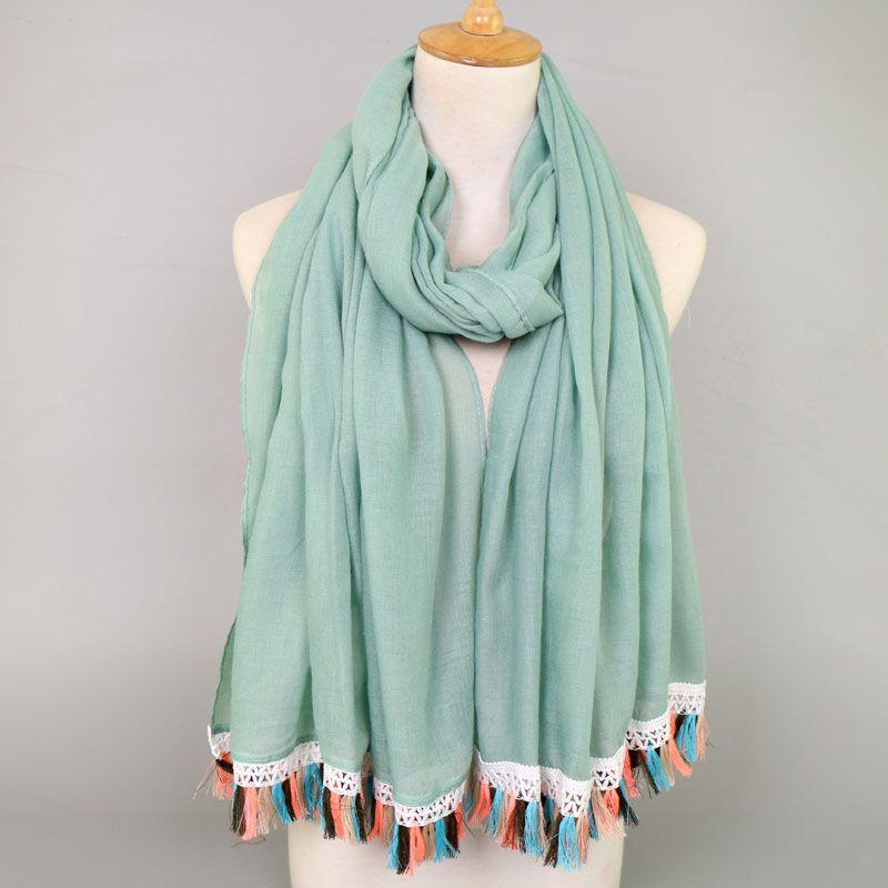 women lace tassels cotton viscose plain color bohemian shawls hijab summer muslim long scarves/scarf 180*90cm