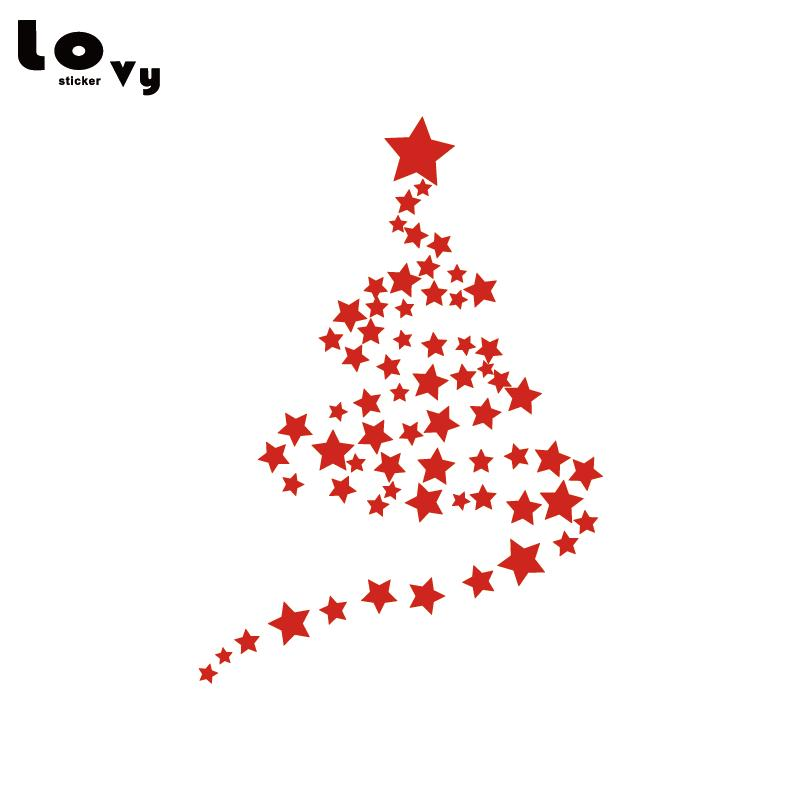 stars new year merry christmas vinyl wall sticker tree snow art wall