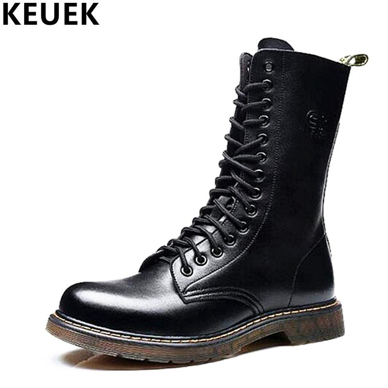 New 2019 Mens Pointed Toe Waterproof Short Boots Vintage Mid Leg Military Boots Spring Motorcycle Work Boots Male Shoes 100% Guarantee Men's Shoes Men's Boots