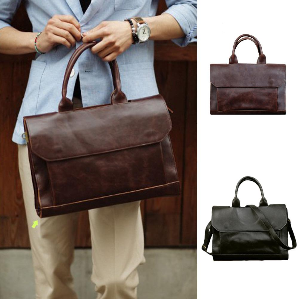 e2d593c21385 Retro Men s Laptop Handbag Crazy Horse Leather Briefcase For Male Business  Men Briefcases Casual Zipper Bags Black Brown