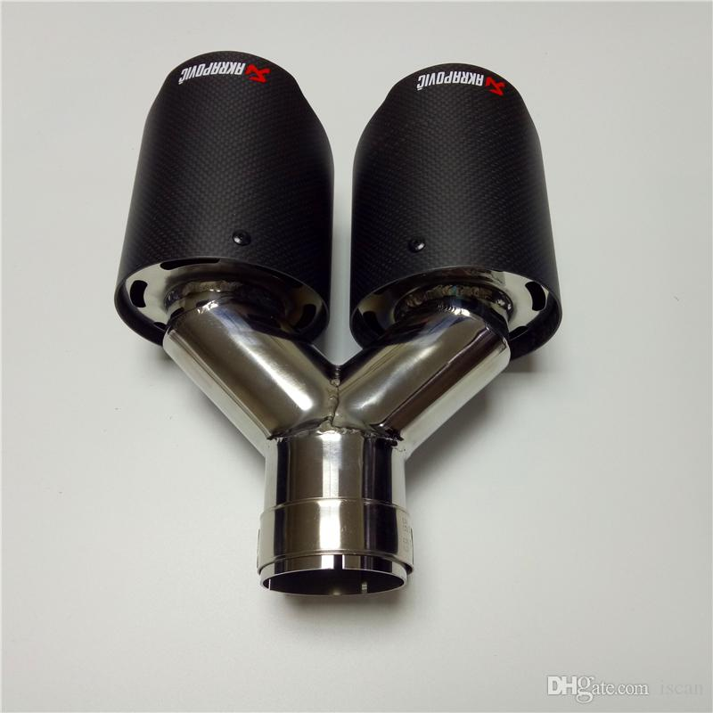 One Piece Outlet 76mm Y Model Akrapovic Carbon Exhausts Dual End Tips for BMW BENZ AUDI VW Exhaust Dual Muffler Pipes Tail Tips