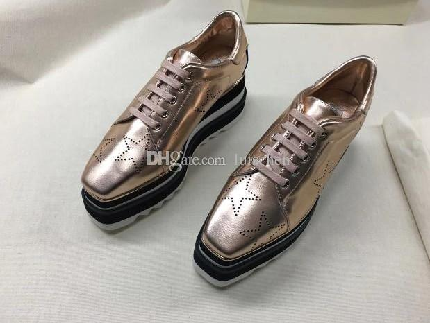 2018 NEW Stella Mccartney Women Calfskin Genuine Leather Platform Casual Shoes Cut-outs Star Oxfords Stripes Wedge Elyse Lace-up Sneaker