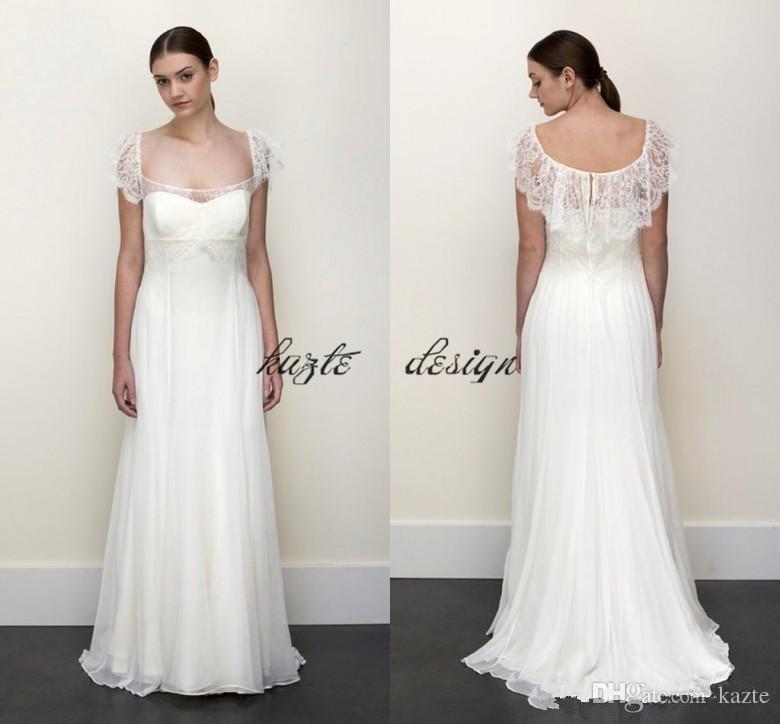 Plus Size Empire Waist Wedding Dress: Elegant Empire Waist Boho Wedding Dresses Floor Length