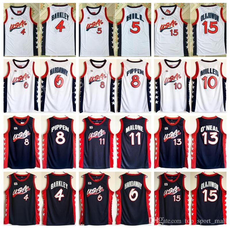afeaf759931c 2019 1996 USA Dream Team Jerseys Basketball 15 Hakeem Olajuwon 6 Penny  Hardaway 4 Charles Barkley 10 Reggie Miller 8 Scottie Pippen 5 Grant Hill  From ...