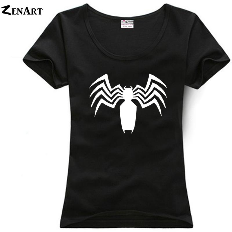 5160d6fd0 Compre Camiseta De Mujer Spiderman Spider   Man Venom Logo Pareja Ropa  Chicas Mujer Mujer O Cuello Algodón Camiseta De Manga Corta Ziiart A  23.95  Del ...