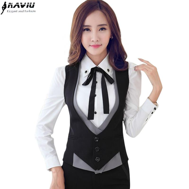 acba27bd6e Fashion Professional V-neck Slim Women Vest Coat Eleplus Size Black ...
