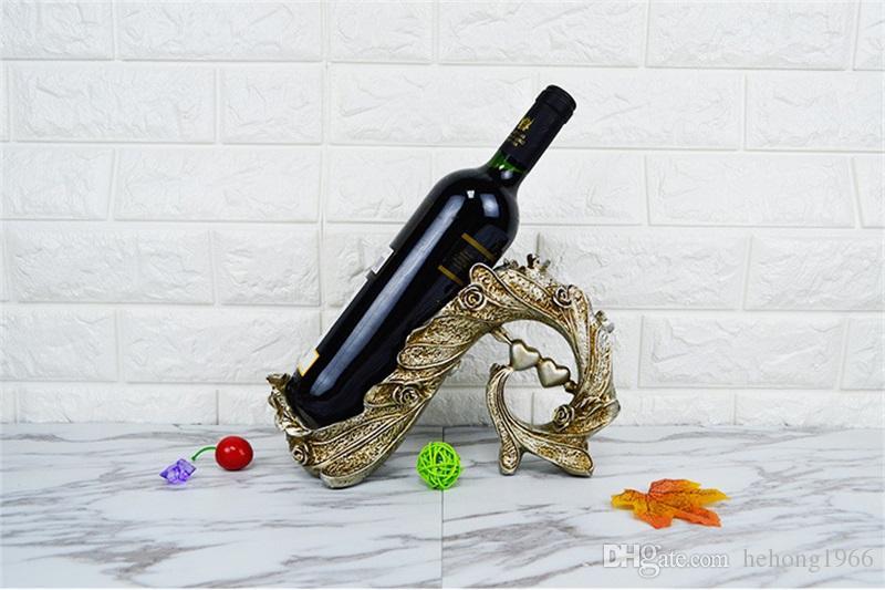 Creative Home Furnishing Wine Rack Décoration Résine Arts Et Artisanat Coeur Forme Vin Rouge Cadre Salon Table Ornement 20 79yh Y