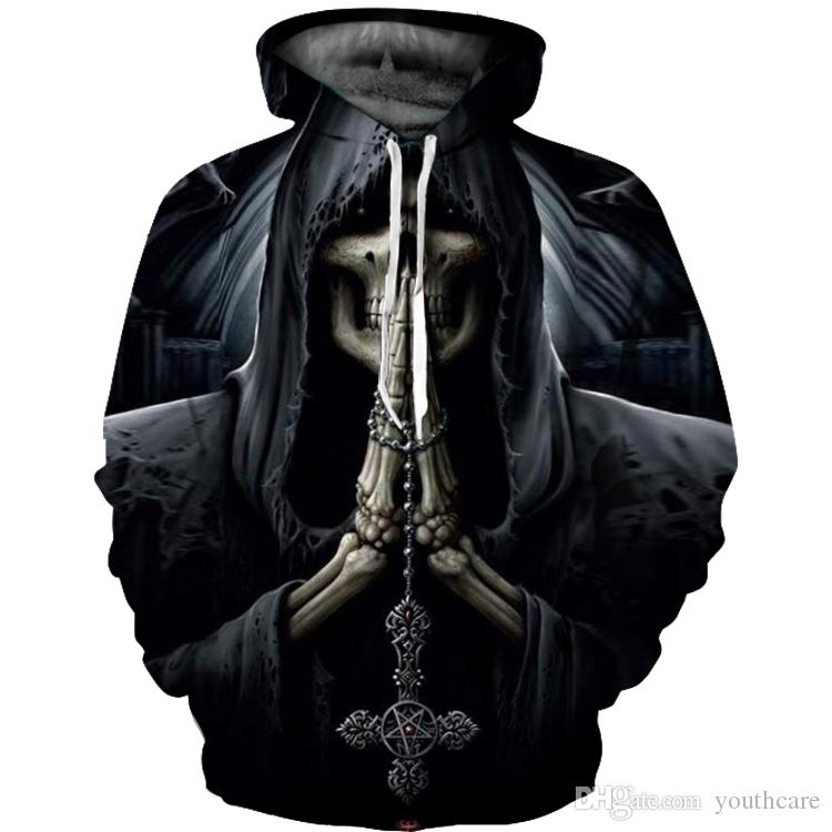 Skull Horror 3D Print Mens Womens Hooded Hoodie Sweatshirt Pullover Jumper Hot