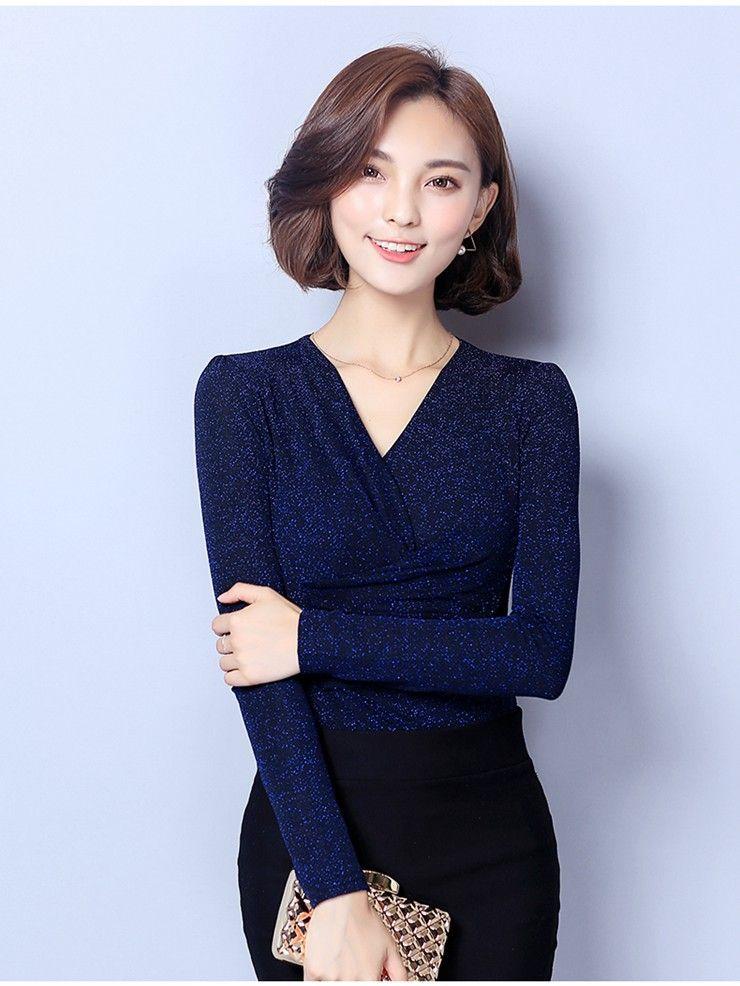 Blusa de mujer 2018 Moda Invierno Otoño Tops Damas Casual Cuello en V Manga larga Femme Camisas de gran tamaño Blusas Femininas D0681