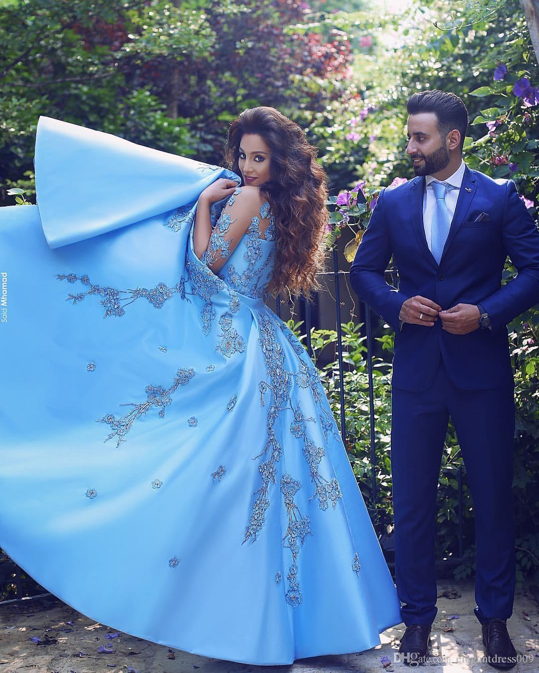 Baby Blue 2018 Long Sleeve Prom Dresses Sheer Neck Lace Applique ...