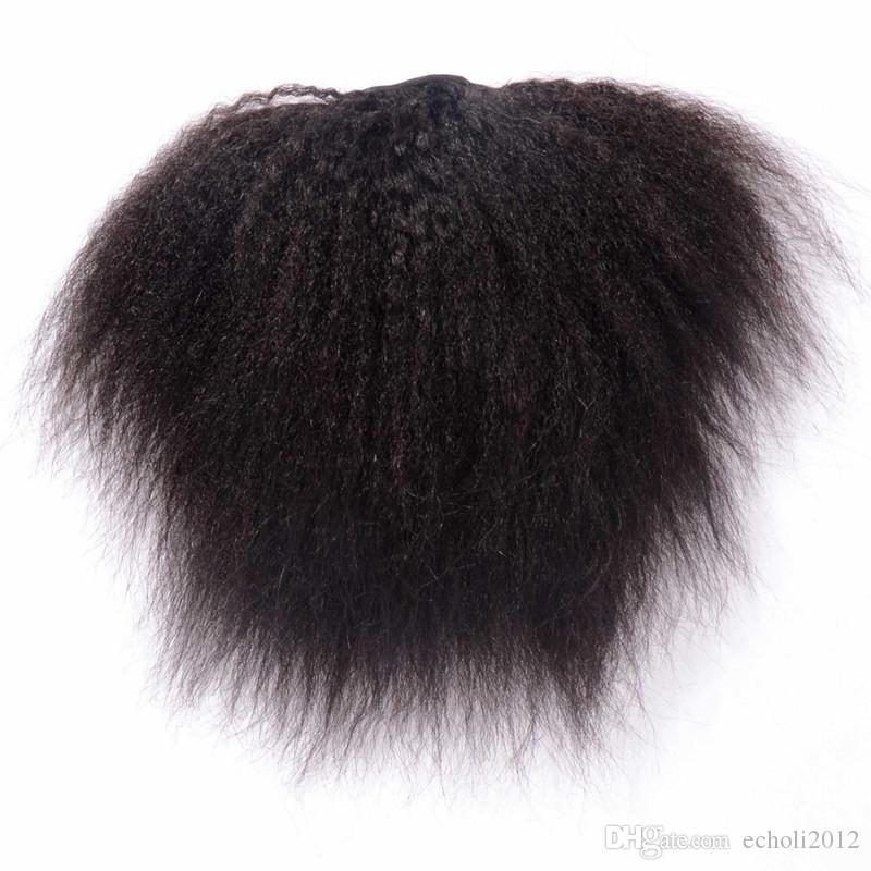 Drawstring 100 Human Hair Ponytail Extensions Coarse Curly Afro Kinky Straight Italian Yaki Curly Top Closure Clip Ins Ponytail Human Hair