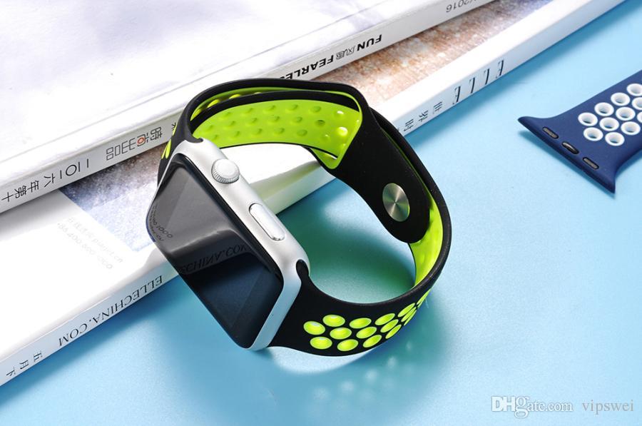 relógio bandas inteligentes nk Buraco Loops Bandas substituição de duas cores pulseira de silicone de pulso Esporte Strap banda para Apple Watch Series All Universal