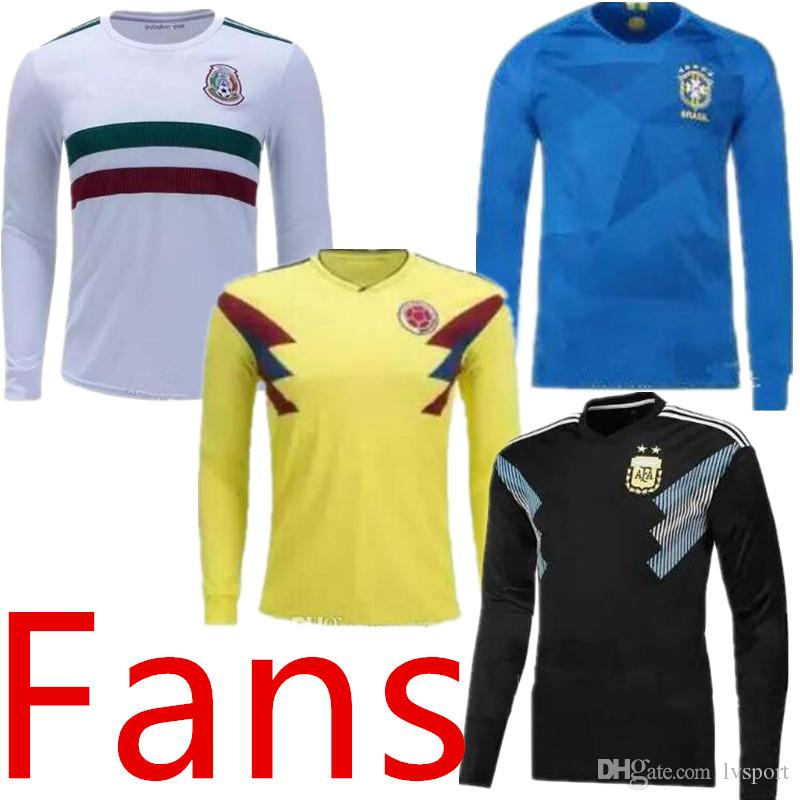 2018 World Cup Nationl Team Long Sleeve Soccer Jersey 2 Stars French Mbappe Soccer  Shirts Mexico Colombia Messi Ronaldo Full Sleeve Jersey UK 2019 From ... 661a16672